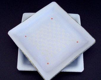 Ceramic plates, handmade plates, lavender plates, square plates, stoneware, high fired
