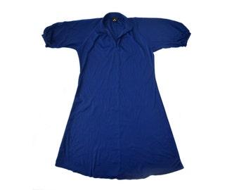 Vintage 70's 80's factory L. Dimitrova Sofia retro dress women blue made in Bulgaria size 170/96