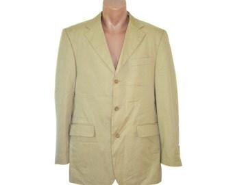 Vintage Abrams men beige 100% cotton blazer