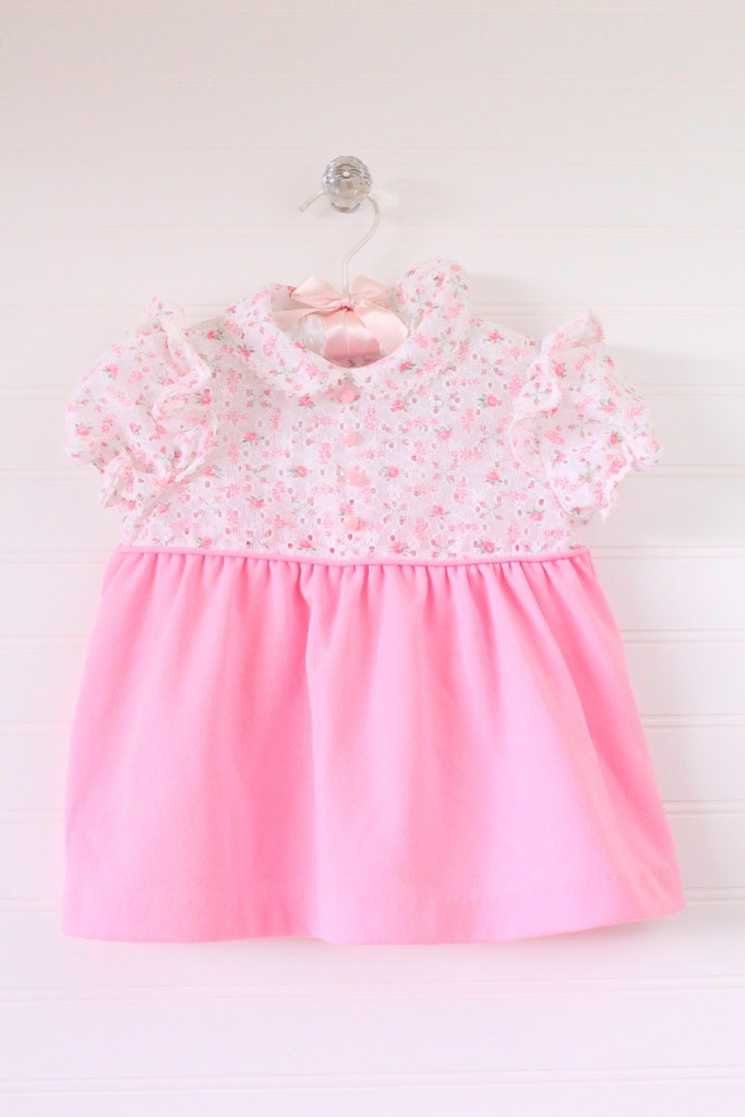Antique baby dress Baby Pink dress with cream top JC Penney