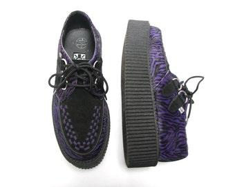 Purple Zebra TUK Creepers - Size 6 - Platform Creepers - Platform Sneakers - Creeper Shoes - Clubwear - Platform Shoe - Grunge