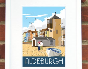 ALDEBURGH Our take on the former coastguard's lookout. A4, A3, A2 in Retro, Art Deco style design