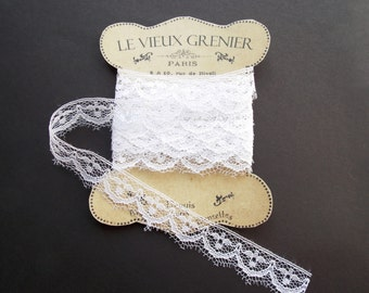 White lace, 2 yards, 17mm vintage lace, trim ribbon, sewing supplies, haberdashery, costume, sewing notions, victorian lace, wedding lace L7
