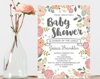 Vintage Rose Baby Shower Invite - Baby Shower Invitation - Shabby Chic Baby Shower Invite - Girl Baby Shower Invitation