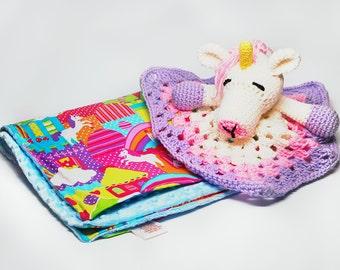 Unicorn Baby Blanket Set - Unicorn Lovey and Baby Blanket Set - Unicorn Lovey Set - Baby Blanket Set - Baby gift Set