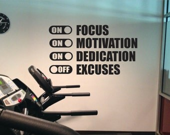 Fitness Wall Decal, Classroom Wall decor, Office Wall Decal, FOCUS MOTIVATION DEDICATION On Excuses Off