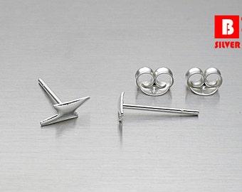 925 Sterling Silver Earrings, Lightning Bolt Stud Earrings, Stud Earrings, (Code : K56)