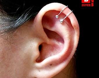 925 Sterling Silver Earrings, Ball Ear Cuff Earring (Code : K50)
