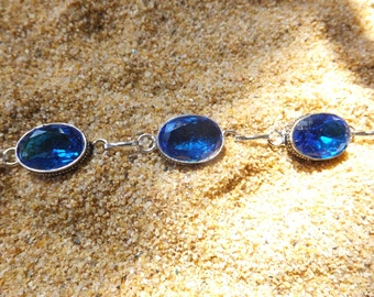 Blue Sapphire and Sterling Silver Bracelet between 7 to 8 inches in length