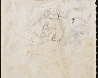 ANDREW WYETH - Study of Helga - original vintage drawing - c1970s (important 20th Century American artist)