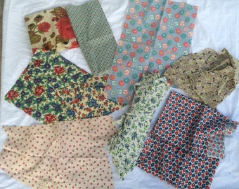 Vintage cotton fabric lot, bold prints , flour sack and more , 10 patterns