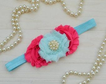 Aqua and pink birthday headband, pink and aqua baby headband, 1st birthday headband