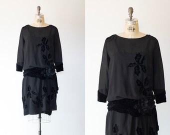 MY MUSE dress | 1920s black silk and velvet dress with leaves | Vintage 1920s drop waist dress
