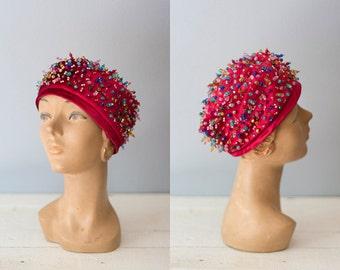 CARNIVAL velvet hat | Vintage 1960s red beaded cloche hat | Women's vintage hat