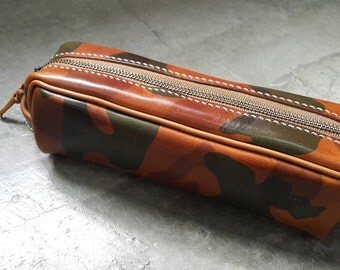 Camouflage Leather Pencil Bag / Cosmetic Bag (Made by Hand)