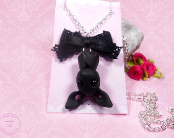 Necklace with kawaii Polymer Clay bat charm, bat necklace handmade