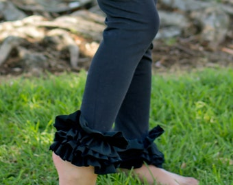 Black Ruffle Leggings - Cute and Comfy girls cotton/knit double ruffle leggings, custome made in any size or color, Birthday, photos