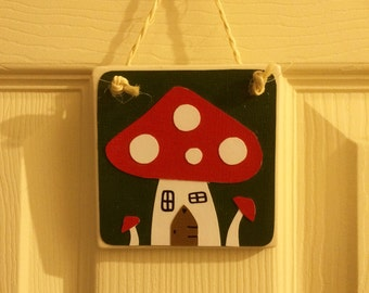 Woodland Toadstool Hanging Tile