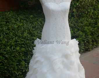 Ivory Lace Wedding Dress Sweetheart Neckline Mermaid Organza Wedding Gown With Beading Belt
