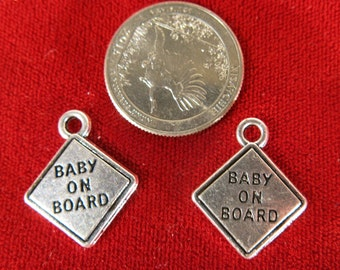 """BULK! 15pc """"baby on board"""" charms in antique silver style (BC1046B)"""