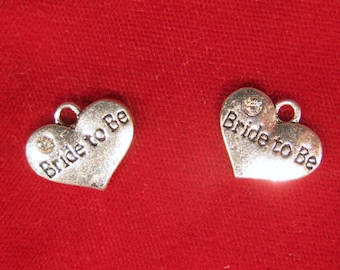 """BULK! 15pc """"bride to be"""" charms in antique silver style (BC1092B)"""