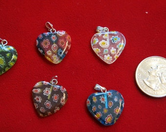 "15pc ""millefiori glass heart"" charms in antique silver style (BC572B)"