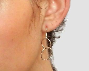 Silver Hoop Earrings, Hoop Earrings, Hoop silver Earrings, Dangling  Hoops, Drop Hoop Earrings,  Sterling Silver Hoop Earrings, Boho Hoops