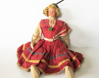 Fantastic Antique Paper Mache Faced Doll With Cloth Body Doll From Maceira.