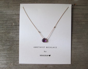 AMETHYST and fine SILVER nuggets necklace on a thin silk cord February birthstone woman's gift card