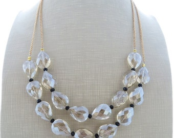 Crystal necklace, bib necklace, chunky necklace, double strand necklace, beige necklace, beaded necklace, summer jewelry, holiday necklace