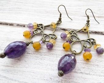 Amethyst earrings, rustic earrings, yellow citrine earrings, bronze chandelier earrings, purple dangle earrings, semi precious stone jewelry
