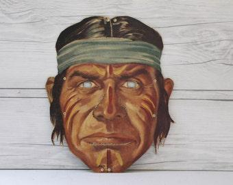 Vintage Paper Warrior Mask, Vintage Halloween Mask