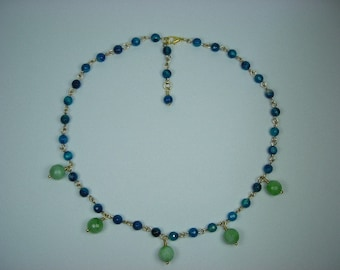 Honeydew Agate Dangle and Ocean-Blue Agate Chained Necklace