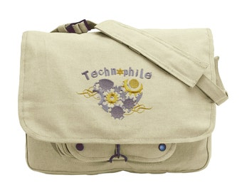 Technophile Embroidered Canvas Messenger Bag