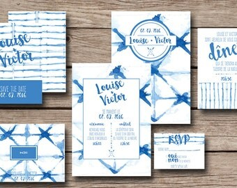 Printable wedding stationery kit: wedding invitation + rsvp, save the date, diner invitation, thank you card - Shibori - Bohemian, Boho