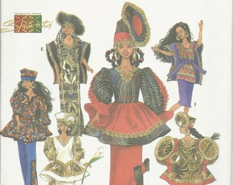 "Simplicity 7959  Fashion Kwanzaa Wardrobe for Ethnic African 11 1/2"" Doll  Uncut"