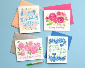 Floral Watercolor Birthday Card Set, Happy Birthday Cards, Assorted Flower Birthday Cards