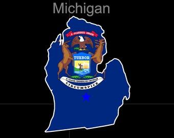 Michigan American State Flag Pride Decal Sticker