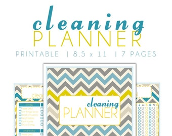 Cleaning Planner Printable {SIZE LARGE 8.5 x 11} - Instant Download - Chevron