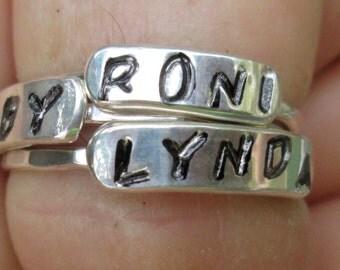 Custom Stamped Name Ring
