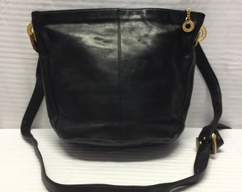 Perlina leather purse, Black Leather Bag, Shoulder Bag