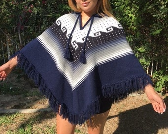 Poncho top,Knit poncho,Indian poncho,blue,white ,fringed