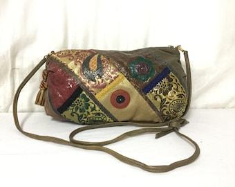 Leather, Snakeskin Purse,bag,1980s, Shoulder Bag ,Red ,Green, Gold, Tassles, Paisley, Bronze, Purple