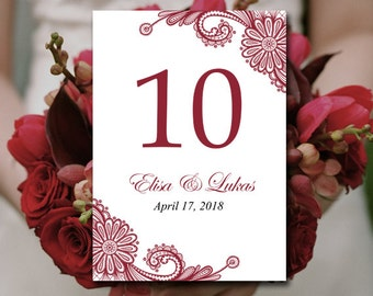 Heart wedding table number template entwined by for Table numbers for wedding reception templates