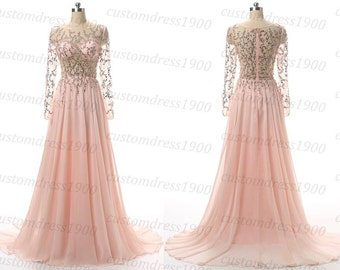 Long pink prom dress,handmade beading chiffon long sleeves formal women dress,long wedding party dress pink dresses