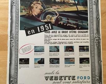 Vintage French Ford Vedette Ad 1951