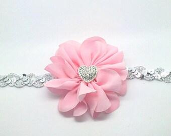 Pink and Silver Sequin Headband, Pink Headband, Valentine's Day Headband, Heart Headband, Pink and Silver headband, sequin headband, silver