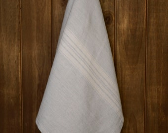 Linen Tea Towel Stonewashed Natural with White Stripes