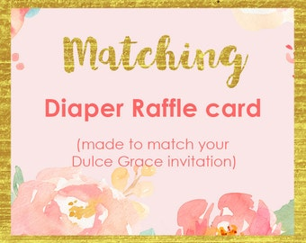 Matching Diaper Raffle ticket, book raffle card, Add-on made to match any of my invites, Baby Shower printables, Baby shower insert card