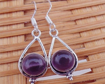 Amethyst Earring - February Birthstone Earring - Dangle Drop Earring - Purple Stone Earring - Silver Overlay Drop Earrings - E1078
